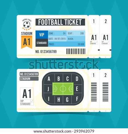 Football Ticket Modern Design. Vector illustration - stock vector