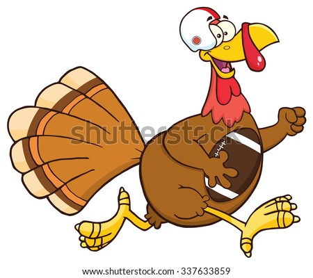 Football Turkey Bird Cartoon Character Running In Thanksgiving Super Bowl. Vector Illustration Isolated On White - stock vector