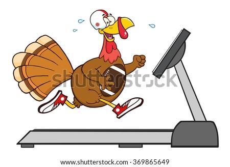 Football Turkey Bird Cartoon Character Running On A Treadmill. Vector Illustration Isolated On White - stock vector