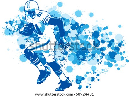 Football Wide Receiver Illustration - stock vector
