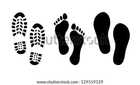 Footprint, shoes and sandals print - illustration - stock vector