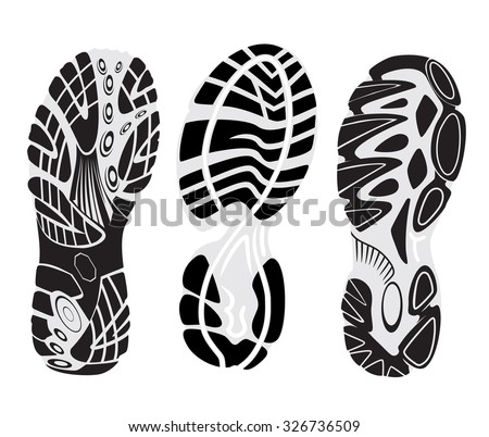footprint sport shoes - stock vector