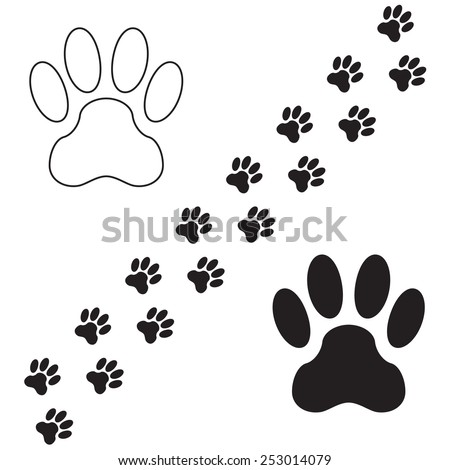 Footprints of dog isolated on white background. Animal paw icon or sign. Vector illustration. - stock vector