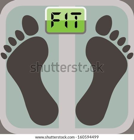 footprints on bathroom scale, scale display shows word fit  - stock vector