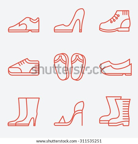 Footwear icons, thin line style, flat design - stock vector