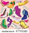Footwear seamless colorful pattern - stock vector