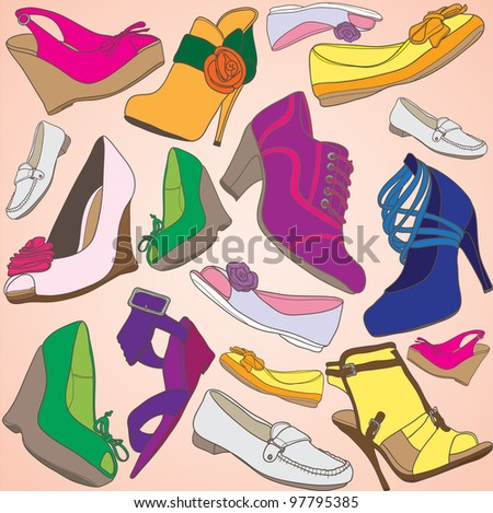 Footwear seamless colorful pattern