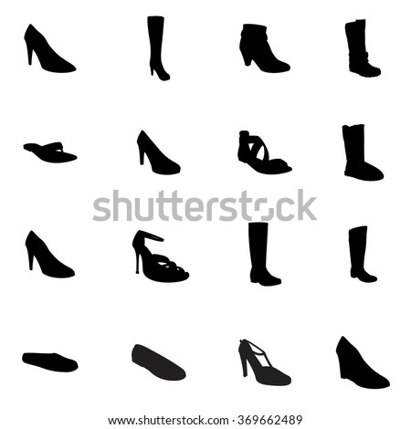 Footwear. Woman's footwear set, footwear silhouettes. Names: ankle boot, ballerina, flip-flop, heel-strap sandals, footwear, plateau pumps, pumps, sandals, snow boots, thigh-boots, T-strap, footwear. - stock vector