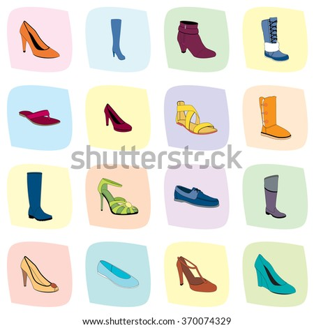 Footwear. Woman's footwear set, realistic footwear. Names: ankle boot, ballerina, flip-flop, heel-strap sandals, footwear, plateau pumps, pumps, sandals, snow boots, thigh-boots, T-strap, footwear. - stock vector