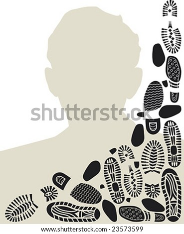 Footworn portrait of a man. Frame design with bootprints. - stock vector