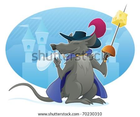 Foppish Rat Musketeer - vector - stock vector