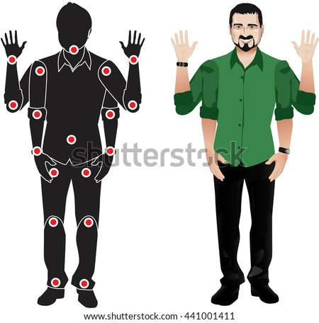 FOR ANIMATION. man character in green shirt, doll with separate joints. Gestures for animated work movement. Parts of body template for design work and animation. Body elements. Set. mustache - stock vector