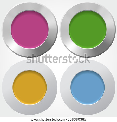 For buttons with colorful centers in flat and metallic styles - stock vector