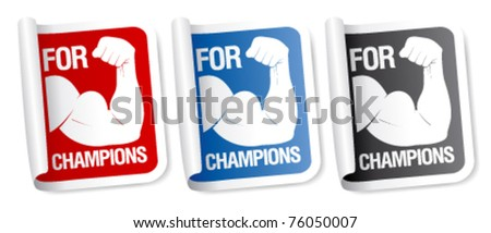 For champions stickers collection. - stock vector