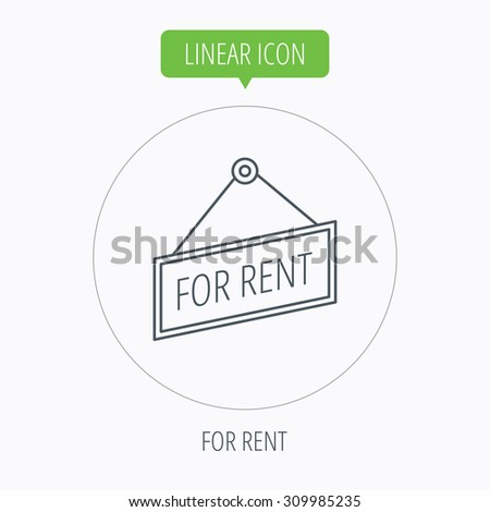 For rent icon. Advertising banner tag sign. Linear outline circle button. Vector - stock vector