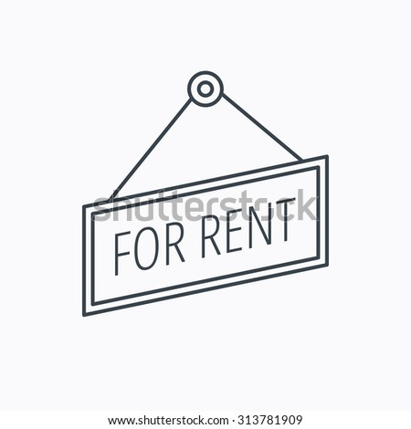 For rent icon. Advertising banner tag sign. Linear outline icon on white background. Vector - stock vector