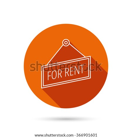 For rent icon. Advertising banner tag sign. Round orange web button with shadow. - stock vector