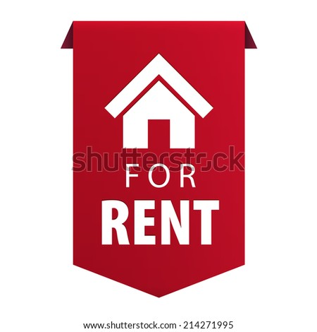For Rent ribbon banner icon Real estate symbol isolated on white background. Vector illustration - stock vector