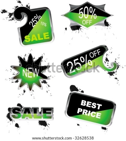 For sale green icons - stock vector