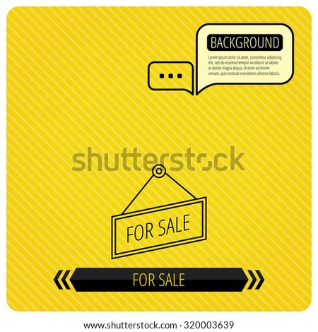 For sale icon. Advertising banner tag sign. Chat speech bubbles. Orange line background. Vector - stock vector