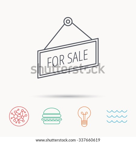 For sale icon. Advertising banner tag sign. Global connect network, ocean wave and burger icons. Lightbulb lamp symbol. - stock vector