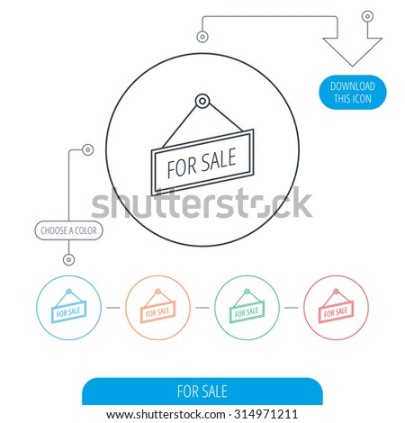 For sale icon. Advertising banner tag sign. Line circle buttons. Download arrow symbol. Vector - stock vector