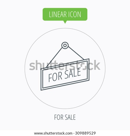 For sale icon. Advertising banner tag sign. Linear outline circle button. Vector - stock vector