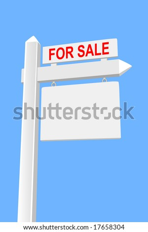 For sale real estate sign on wood post with hanging blank placard against blue background.