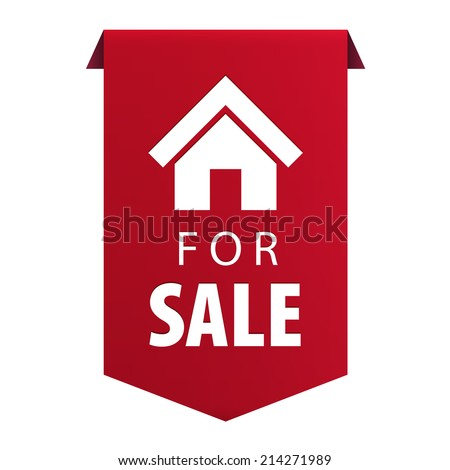 For Sale ribbon banner icon Real estate symbol isolated on white background. Vector illustration - stock vector