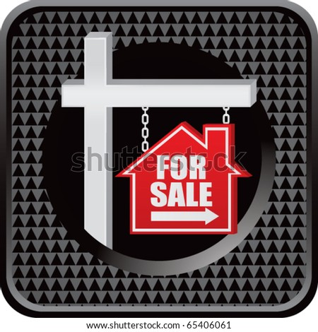 for sale sign black checkered web button - stock vector