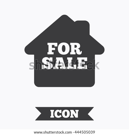 For sale sign icon. Real estate selling. Graphic design element. Flat for sale symbol on white background. Vector - stock vector