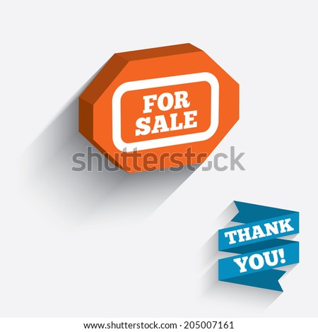 For sale sign icon. Real estate selling. White icon on orange 3D piece of wall. Carved in stone with long flat shadow. Vector