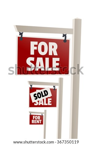 For sale sign. Sold sign, For rent sign - stock vector