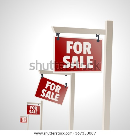For sale signs.  - stock vector