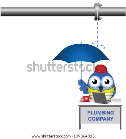 For some unknown reason business was slow at the plumbing company - stock vector