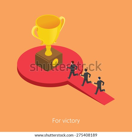 For victory concept design 3d isometric vector illustration - stock vector