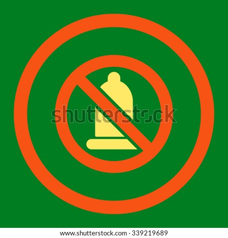 Forbidden Condom vector icon. Style is bicolor flat rounded symbol, orange and yellow colors, rounded angles, green background.