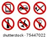 forbidden icons set - stock vector