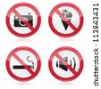 Forbidden sign: no cameras, no food, no smoking, no noise - stock photo