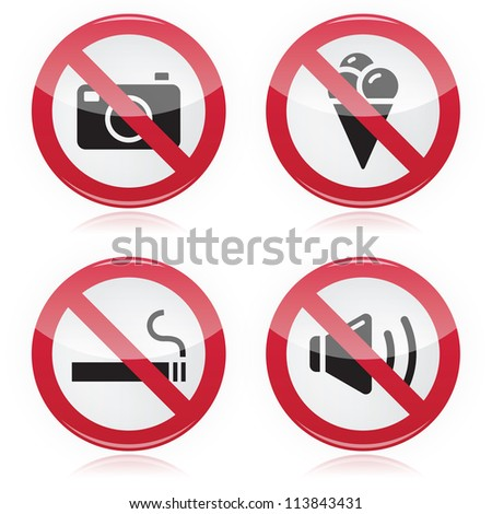 Forbidden sign: no cameras, no food, no smoking, no noise - stock vector