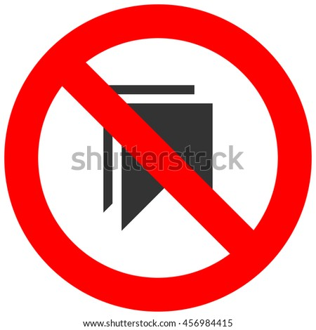 Forbidden sign with bookmark icon isolated on white background.