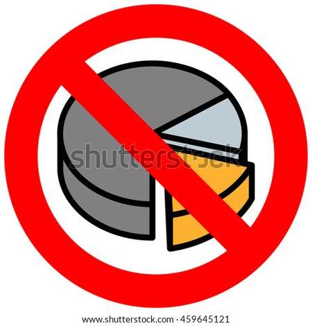Forbidden sign with diagram icon isolated on white background. Making graph is prohibited vector illustration. Diagram is not allowed image. Graphics are banned.