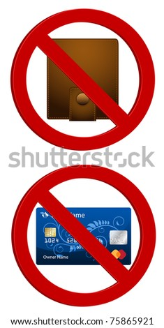 forbidden wallet and credit card - stock vector
