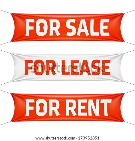 Fore Sale, For Lease and For Rent banners. Vector. - stock vector
