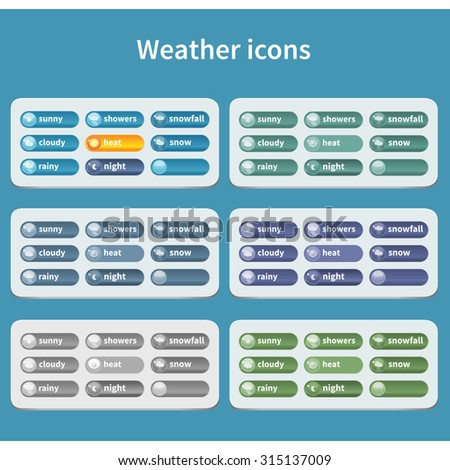 Forecast weather icon set. Different colors