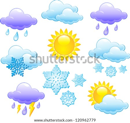 Forecast weather isolated icon set - stock vector