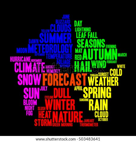 Forecast word cloud in shape of pentagon. Weather concept. Black background.