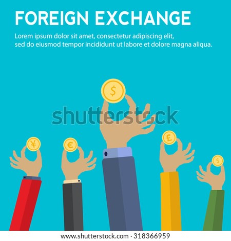 Foreign exchange vector concept with hands holding coins with symbols for yen, pound sterling, euro and dollar currency - stock vector