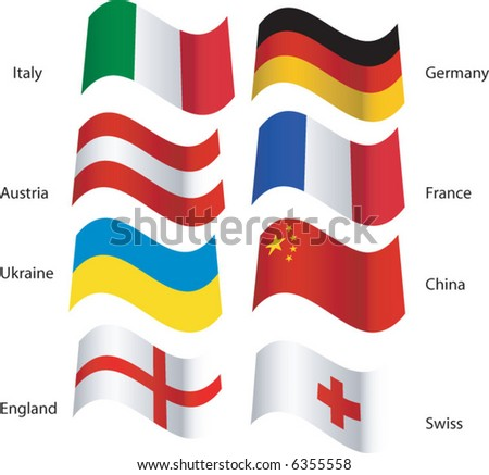 Foreign flags blowing in the breeze - stock vector