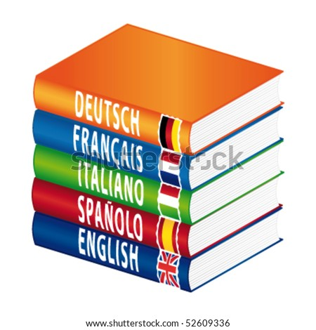 Foreign languages books. Vector illustration. - stock vector